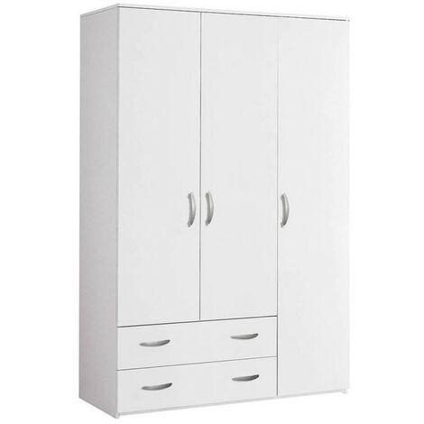 Armadio 3 ante e 2 cassetti 121x52x175 cm colore bianco