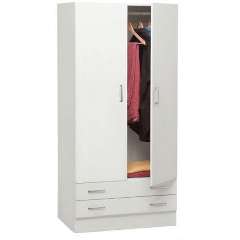 Armadio camera da letto guardaroba 2 ante + 2 cassetti bianco 96252