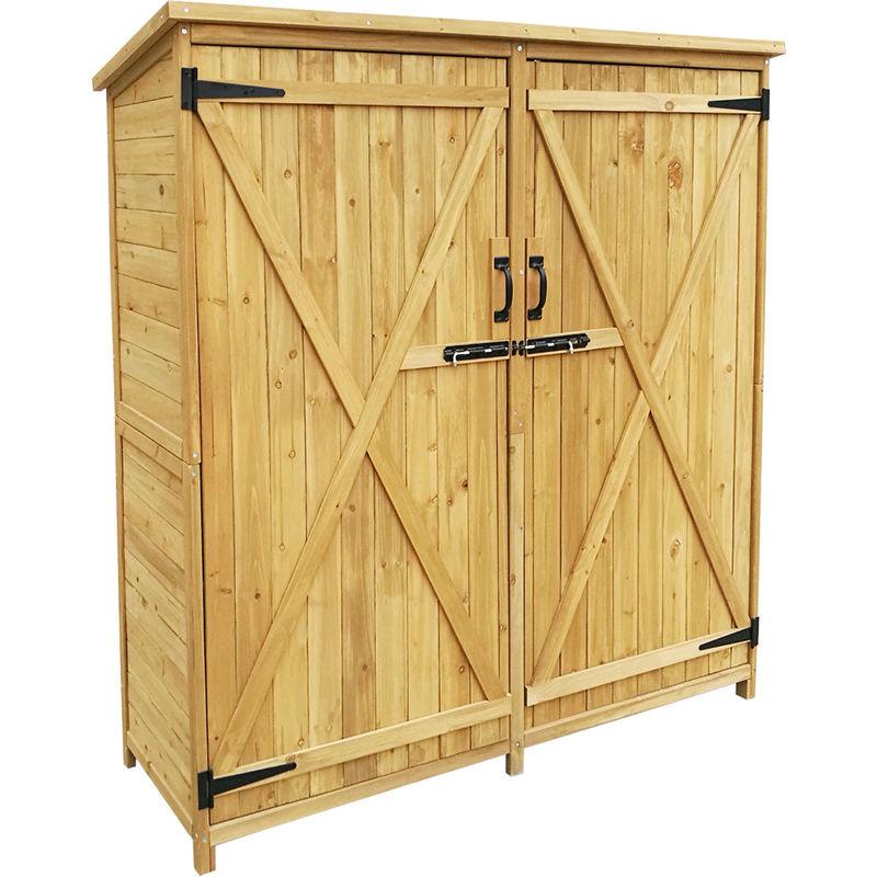Armadio Usato Due Ante.Armadio Da Giardino A 2 Ante Porta Attrezzi Ripostiglio In Legno 1350x500x1540mm 51061