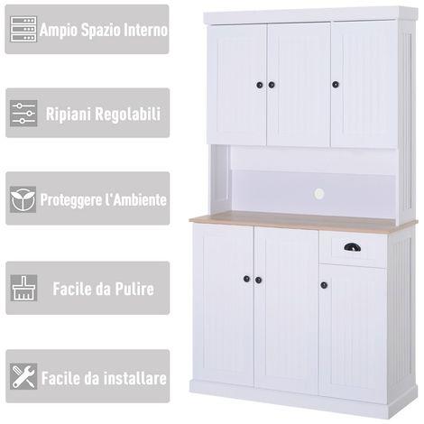 Armadio Dispensa con Pensili da Cucina Bianco e Rovere 101 x ...