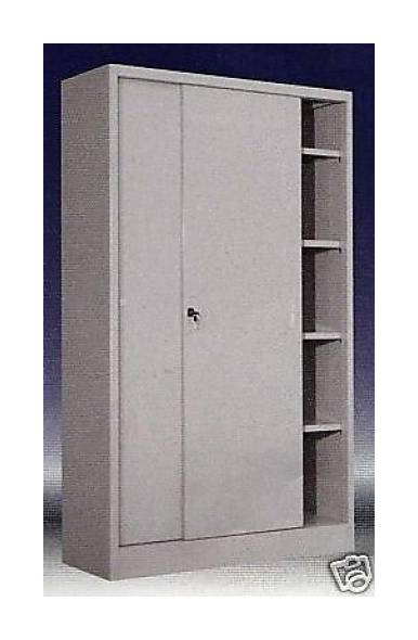 Armadio Ante Scorrevoli Altezza 200.Armadio In Metallo Ad Ante Scorrevoli 180x60x200 Grigio