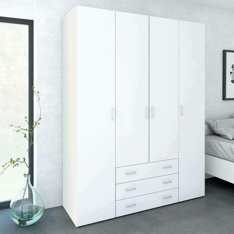Armadio Milano 200.4x49.5, Struttura in legno, Bianco