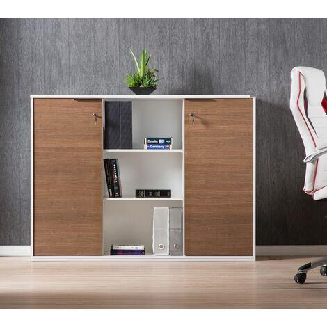 Armadio Ufficio 2 Ante.Armadio Mobile Noce 2 Ante Con Chiave Libreria Multiuso Mobiletto