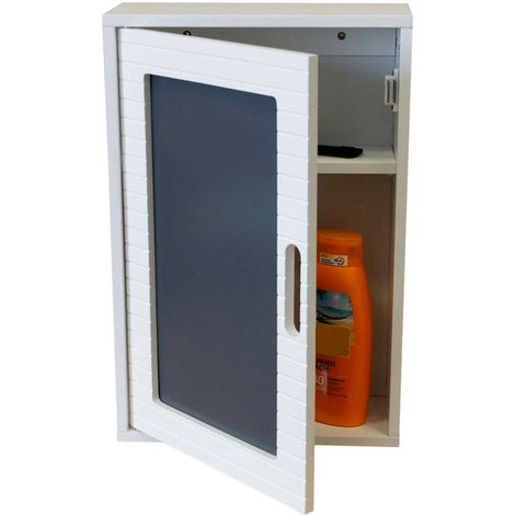 Armadio pensile a parete legno mdf 48x32x13cm con for Armadio bagno bianco