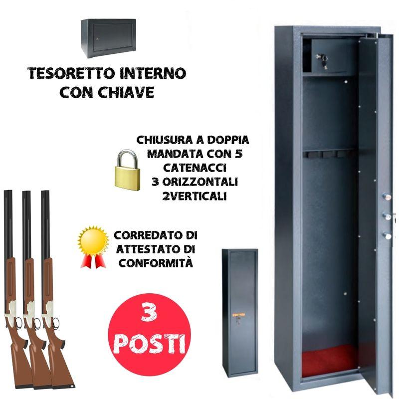 TESORETTO ARMADIO PORTAFUCILI 3 POSTI FUCILIERA UTILIA SECURITY BLINDATA NUOVA