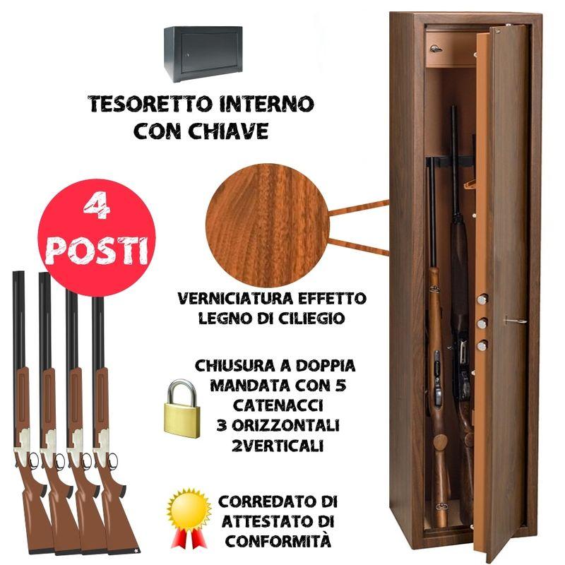Armadio portafucili 4 POSTI UTILIA blindato effetto legno fuciliera + tesoretto