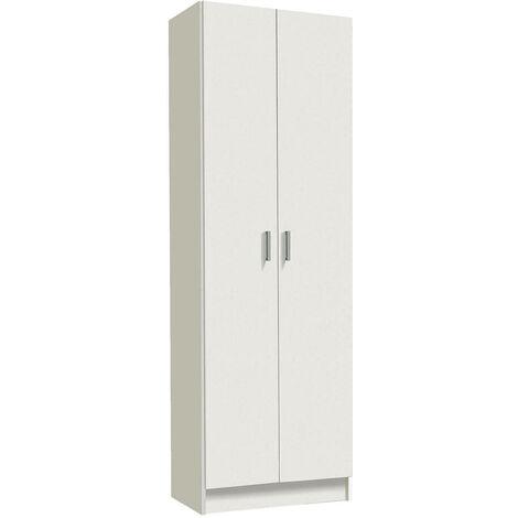 Armadio scarpiera mobile 2 ante bianco guardaroba per bagno 007142o