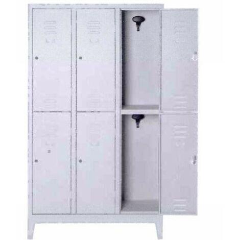 Armadietto Metallico Con Serratura.Armadio Spogliatoio Multiplo In Metallo A 6 Posti Con Serratura Misura101x50x180