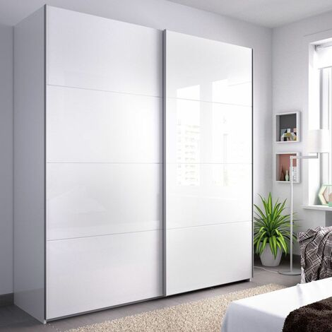 Armario 2 puertas correderas de 180 cms. en color blanco brillo modelo BURGOS