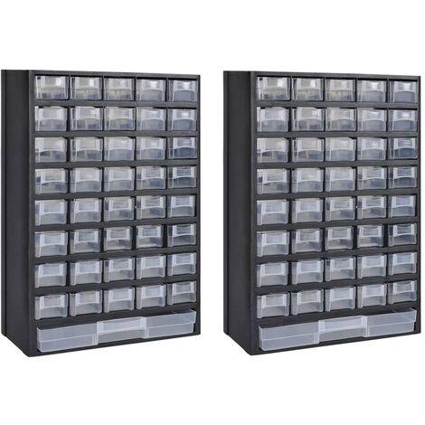 Armario almacenaje herramientas 41 cajones plástico 2 unidades