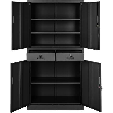 Armario archivador con cierre de seguridad, 5 alturas + 2 cajones - armario metálico de oficina, mueble archivador de acero con cerradura, armario de metal multiusos - negro