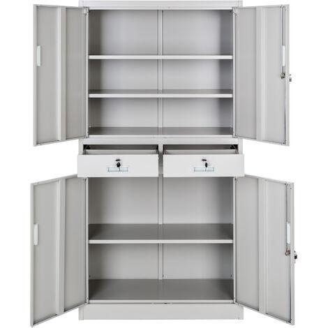 """main image of """"Armario archivador con cierre de seguridad, 5 alturas + 2 cajones - armario metálico de oficina, mueble archivador de acero con cerradura, armario de metal multiusos"""""""