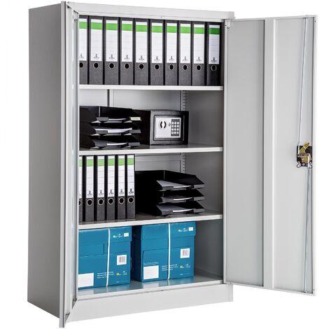 Armario archivador con cierre de seguridad y 4 alturas - armario metálico de oficina, mueble archivador de acero con cerradura, armario de metal multiusos