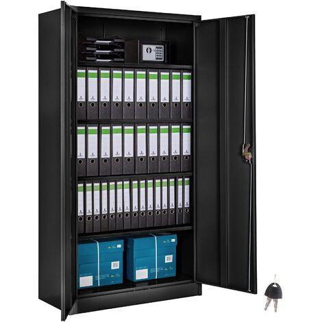Armario archivador con cierre de seguridad y 5 alturas - armario metálico de oficina, mueble archivador de acero con cerradura, armario de metal multiusos