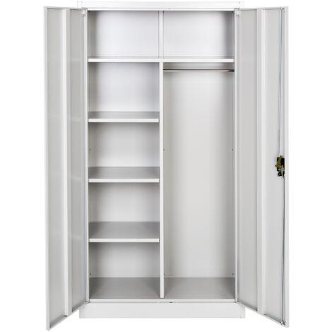 Armario archivador con cierre de seguridad y 6 Compartimientos + barra ropero - armario metálico de oficina, mueble archivador de acero con cerradura, armario de metal multiusos
