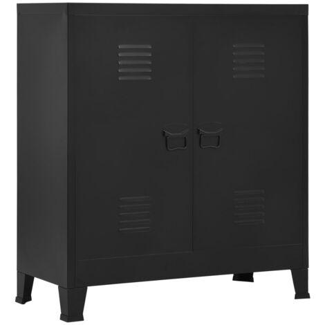 Armario archivador industrial de acero negro 90x40x100 cm