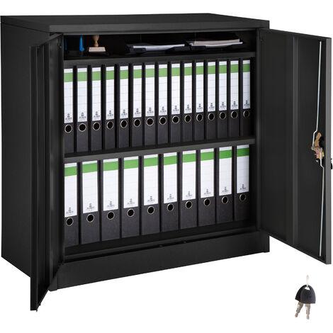 Armario archivador medio con 3 Baldas - armario metálico de oficina, mueble archivador de acero con cerradura, armario de metal multiusos