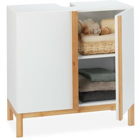 Armario bajo lavabo, Dos compartimentos, MDF y bambú, Blanco y marrón, 60,5x60x30,5 cm