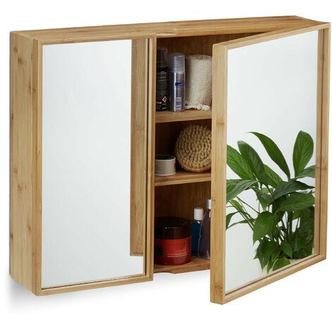 armario baño de bambú, Auxiliar de pared 2 puertas, Espejo grande, Sin montaje, HxLxP: 50x65x14 cm, natural