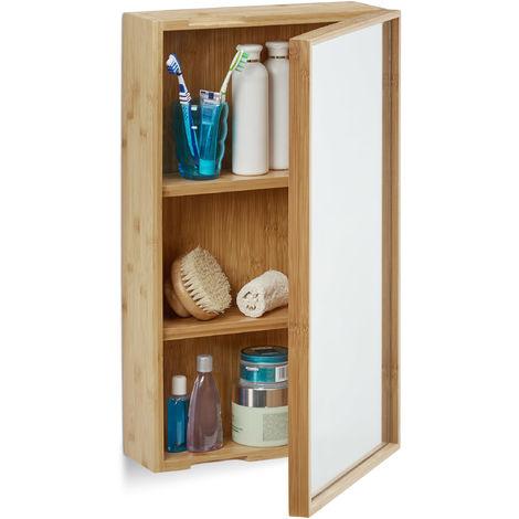 armario baño de bambú, Auxiliar de pared con una puerta, 3 compartimentos, Espejo grande, Sin montaje, natural
