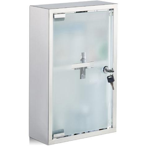 Armario botiquín, Vitrina de cristal, Dos compartimentos, Con cerradura, Primeros auxilios, Plateado, Acero inoxidable, 40x25x11 cm