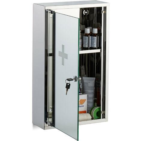 Armario botiquín, Vitrina espejo, Dos compartimentos, Con cerradura, Primeros auxilios, Plateado, Acero inoxidable, 50x30x11 cm