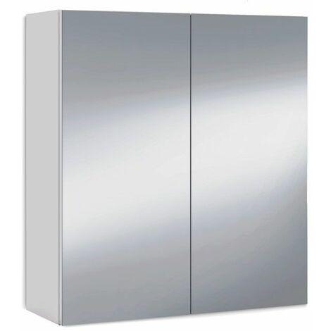 Armario camerino con espejo - Blanco brillo