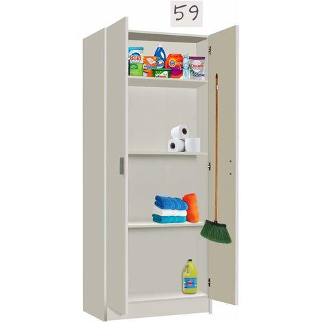 Armario cocina Multiusos escobero Blanco, Medidas 59 cm (Largo) x 180 cm (Alto) x 37 cm (Fondo)
