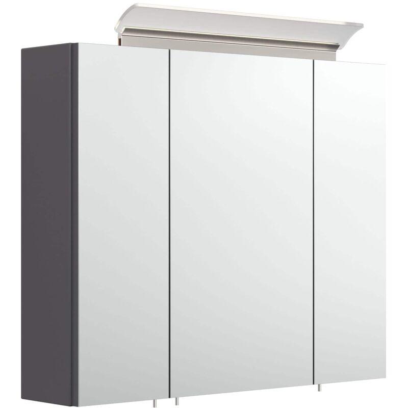 Armario con espejo 75cm Incl. Lámpara LED y estantes de cristal Antracita sedoso