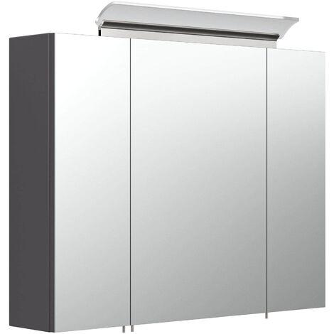 """main image of """"Armario con espejo 80cm Incl. Lámpara LED y estantes de cristal Antracita satin."""""""