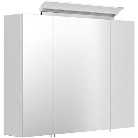 """main image of """"Armario con espejo 80cm Incl. Lámpara LED y estantes de cristal Blanco brillante"""""""