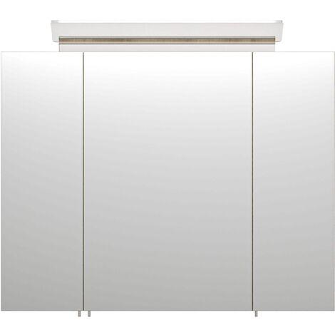 """main image of """"Armario con espejo 80cm Incl. Lámpara LED y estantes de cristal Blanco mate"""""""