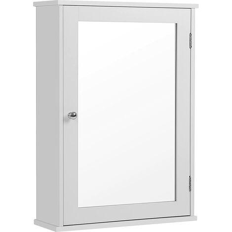 Armario con espejo Armario de baño Armario colgante Armario de pared con 1 Puerta sin Luz Incorporada de Madera para Baño Entrada Blanco 41 x 14 x 60cm (Largo x Ancho x Alto) LHC001
