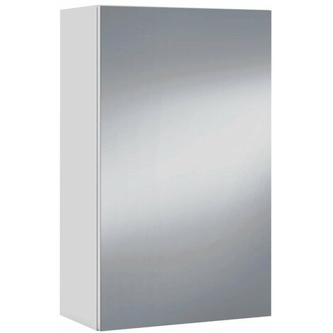 Armario con espejo cuarto baño aseo aéreo 1 puerta 2 baldas color blanco brillo 40x65x21 cm