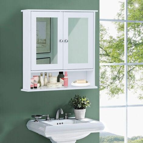 Armario con Espejo de Baño de Pared con 2 Puertas 3 Estantes Almacenamiento para Baño Toalla