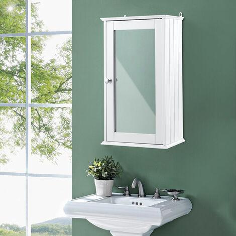 Armario con Espejo de Baño Montado en Pared Gabinete Almacenamiento para Baño