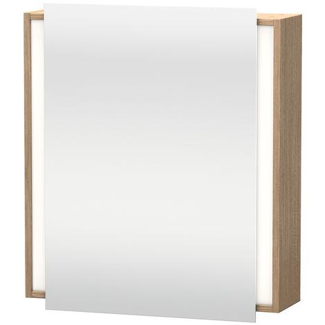 Armario con espejo Duravit Ketho 7530, 1 puerta con espejo, con bisagra a la derecha, 650mm, Color (frente/cuerpo): Nogal natural decorado - KT7530R7979