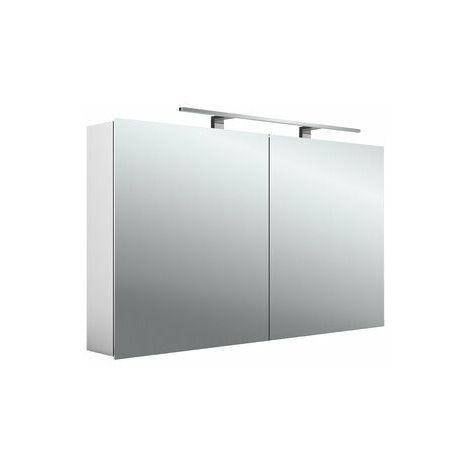 Armario con espejo emco asis mee LED, aluminio, 2 puertas, modelo de montaje en superficie, lámpara LED, 1200 mm - 949805053