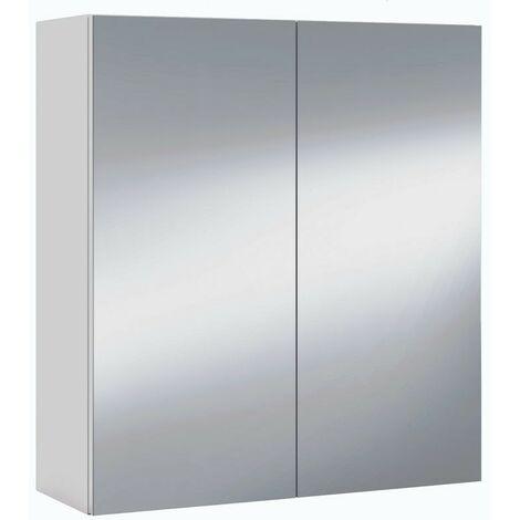 """main image of """"Armario con espejo para baño o aseo colgante color blanco 60x65x21 cm"""""""