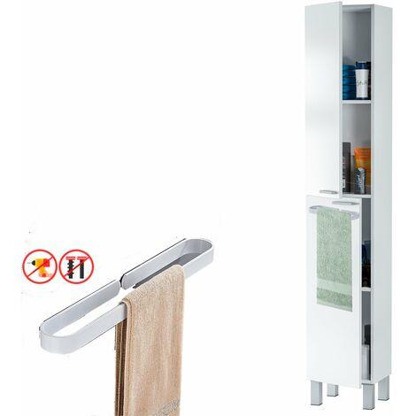 Armario con estantes 2 Puertas y TOALLERO , Medidas: 182 cm (Alto) x 30 cm (Largo) x 25 cm (Fondo)