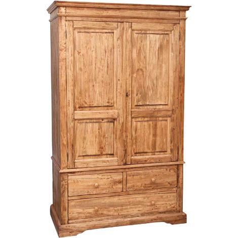 Armario Country de madera maciza de tilo acabado con efecto natural 120x59x197 cm