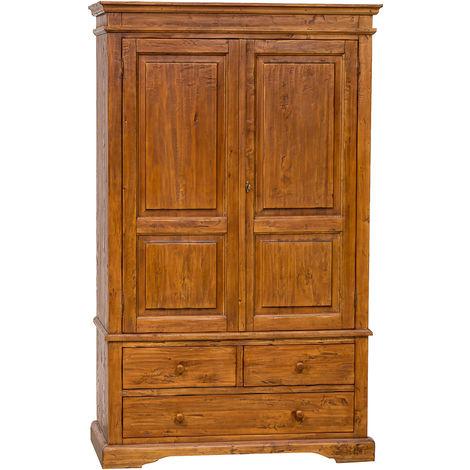 Armario Country de madera maciza de tilo acabado con efecto nogal 120x59197 cm