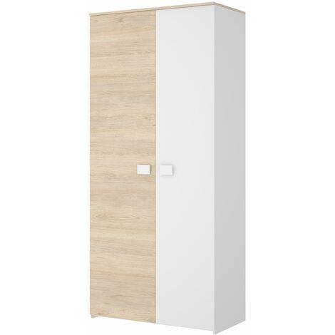 Armario de 2 puertas Dina Blanco - Natural