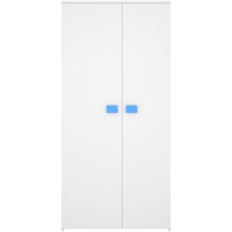 Armario De 2 Puertas Mix - Juvenil - Blanco y Azul
