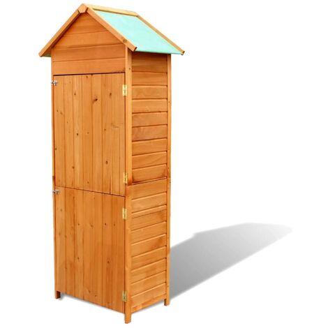 Armario de almacenamiento para jardín marrón 79x49x190 cm