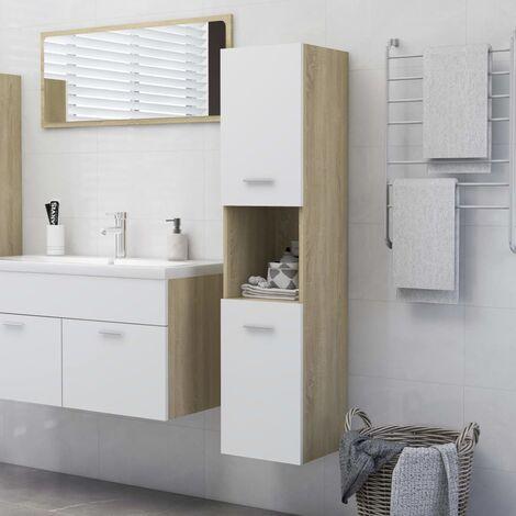 Armario de baño aglomerado blanco y roble Sonoma 30x30x130 cm - Beige