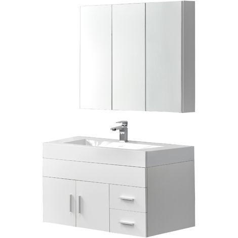 Armario de baño - Armario de pared con espejo - Mueble para debajo de lavabo - Set de muebles de baño - Blanco
