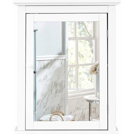 Armario de Baño con Espejo de Pared Mueble de Baño Organizador con Puerta y Estante Ajustable Gabinete de Almacenamiento para Dormitorio Blanco
