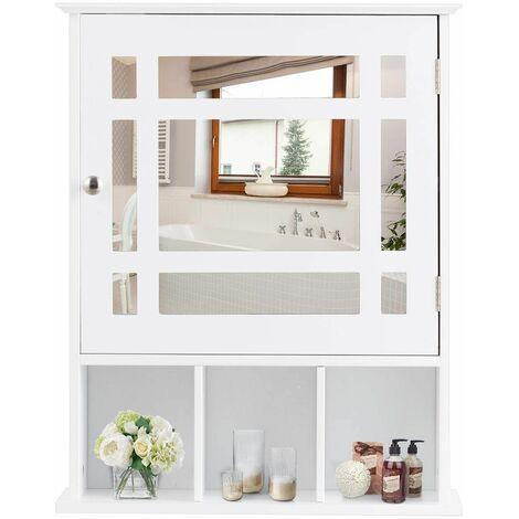 Armario de Baño de Pared Mueble con Espejo, Estante y 3 Compartimentos Abiertos Blanco