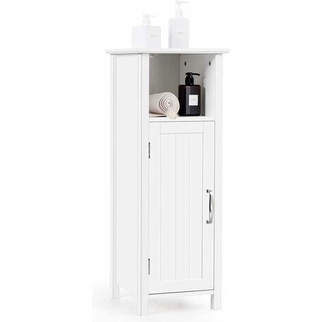 Armario de Baño Suelo con Estantes y Puerta Mueble de Baño de Madera Gabinete para Dormitorio Pasillo Blanco